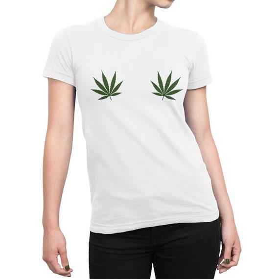 c5cf175417a0b Pot Leaf Boobs Shirt, Weed Boobs 4:20 Womens Tee Shirt