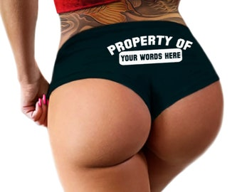 Custom Property Of Panties Personalized Sexy Funny Submissive Collared Bride Wedding Gift  Booty Panties Customized Womens Underwear