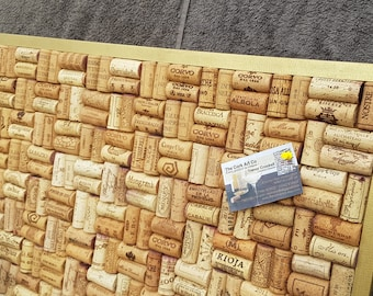 """Cork Notice Board made from re-cycled Wine Corks - Basketweave design - Gold frame - large size 24"""" x 18"""" (60 x 45cm)"""