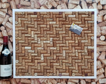 """Cork Notice Board hand-crafted using re-cycled Wine Corks - Herringbone layout - large size 24"""" x 20"""" (60 x 50cm )"""