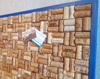 """Wine Cork Notice Board with re-cycled Wine Corks - Blue frame - Large size 24"""" x 20"""" (60 x 50cm)"""