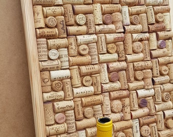 """Cork Notice, Pin Board hand-crafted from re-cycled Wine Corks - size 80 x 40 cm (32"""" """"x 16"""") - in a """"Quad"""" layout"""