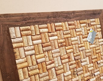 """Wine Cork Notice Board with up-cycled Wine Corks in Basketweave layout in a """"Driftwood"""" frame - size 70.5 x 55.5 cm (27 3/4"""" x 20"""")"""