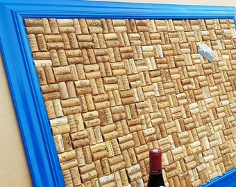 """Cork Notice Board crafted from up-cycled Wine Corks in a Blue frame - size 40""""x29"""" (103 x 73cm) - Basketweave layout"""
