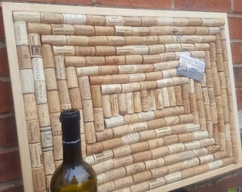 """Cork Pin Board produced from re-cycled Wine Corks in Spiral layout- large size 24"""" x 18"""" (60 x 45cm) with a Pinewood frame"""