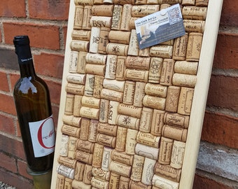 """Cork Notice - Pin Board using re-cycled Wine Corks - size 60 x 30 cm (23 1/2"""" """"x 12"""") - in a """"Basketweave"""" layout"""