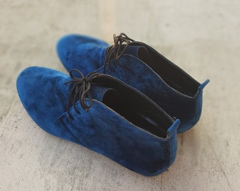 272f6167e65ea Dark blue velvet ankle shoes