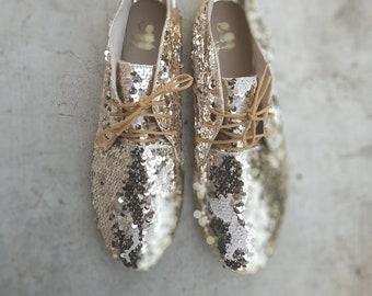 a57b2c503d47 Gold sequin shoes | gold Oxfords