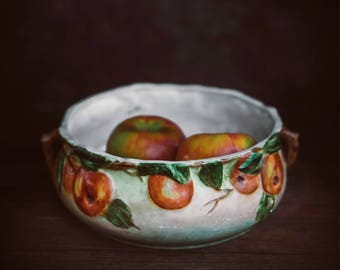 Vintage Apple Tree  Fruit Bowl