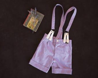 Vintage Suspender Shorts - Boys Shorts - Girls Shorts