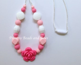 Shades of Pink and  White Flower Silicone Teething Necklace, Sensory Necklace, Silicone Necklace,  Nursing Silicone Necklace,