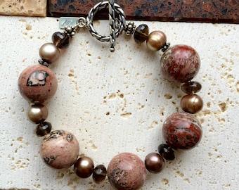 Vermont Get-Away   - Tiger Jasper, Freshwater Pearls, Smoky Topaz. Oxidized Sterling