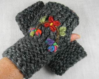 Hand Embroidered Floral Hand Knit Wrist Warmer, Hand Knit Texting Gloves, Hand Knit Fingerless Gloves, Embroidered Hand Knit Gloves