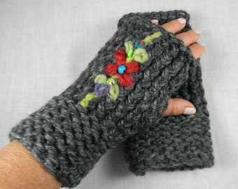 Wrist Warmers, Hand Knit Embroidered Fingerless Gloves, Fingerless Mittens,  Floral, Texting Gloves,