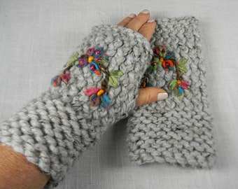 Embroidered Hand Knit Wrist Warmers, Fingerless Gloves, Fingerless Mittens, Texting Gloves, Wristlets, Gauntlets, Floral Embroidery