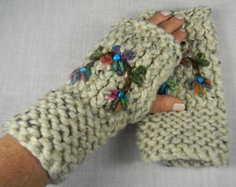 Hand Knit Floral Embroidered Wrist Warmers, Wrist Warmers, Arm Warmers, Fingerless Gloves, Fingerless Mittens, Texting Gloves, Hand Warmers