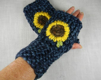 Embroidered Sunflower Hand Knit Wrist Warmers, Fingerless Gloves, Fingerless Mittens, Texting Gloves, Texting Mittens, Hand Warmers, Floral