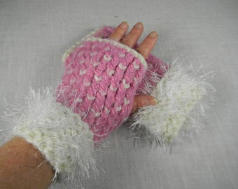 Wrist Warmers, Hand Knit Wrist Warmers, Pink Wrist Warmers, Fingerless Gloves, Fingerless Mittens, Gauntlets, Hand Warmers