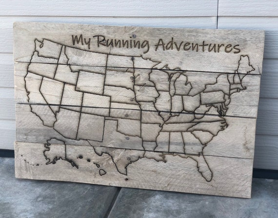 Run Usa Map.Custom Us Line Map Sign Made In Usa Running Adventures Etsy