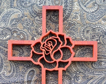 Rose Padauk Wooden Wall Cross