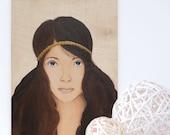 Original Female Portrait Painting - Granola Girl (12 x 16 in)