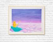 Original Whimsical Painting - Storm (16 x 20 in.), Pop Surrealism, Dreamy Art, Fantasy Artwork, Umbrella Art