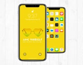iPhone Lock Screen + Wallpaper: Love Yourself Quote w/ Heart Shaped Glasses Yellow