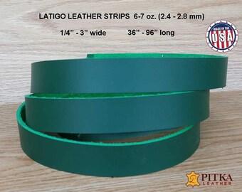 "Kelly Green Leather Strips - Designer Latigo Leather Strip 6-7 oz (2.4 - 2.8 mm) up to 96""- Blank Leather Strips for Craft Projects Green"
