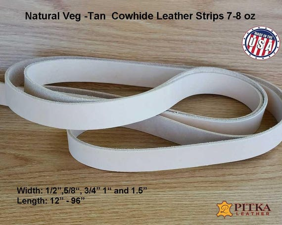 """3//8/"""" to 4/"""" 7//8oz Cowhide Strips"""