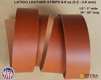 "Leather Strips Latigo - Russet Latigo Leather Strip 8-9 oz (3.2 - 3.6 mm) up to 96""- Blank Leather Strips for Craft Projects -Russet Latigo"
