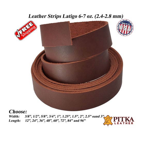 USA Engraving Craft up to 96 in Mahogany Waxy Latigo Leather Strips 6-7 oz