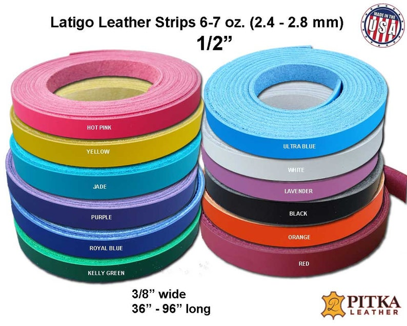up to 96 in long Engraving Jade Latigo Leather Strips  6-7 oz Craft//Project