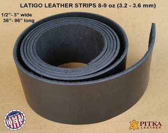 Black Leather Strips -  Latigo Leather Strip 8-9 oz (3.2 - 3.6 mm) up to 96 in - Black Leather Strips for Craft -Laser Engraving ready strip