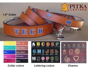 Personalized Dog Leash Collar Sets - Leather Dog Collar and Leash with Name - Dog Collar and matching Lead for Big Dogs Custom Made in USA