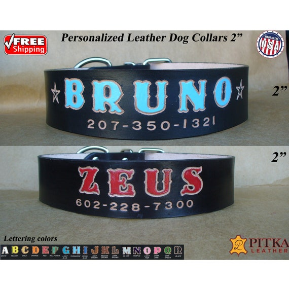 Custom Dog Collars 2 Inch Mastiff Leather Dog Collar Red Dog Collar Personalized Made in USA by Pitka Leather