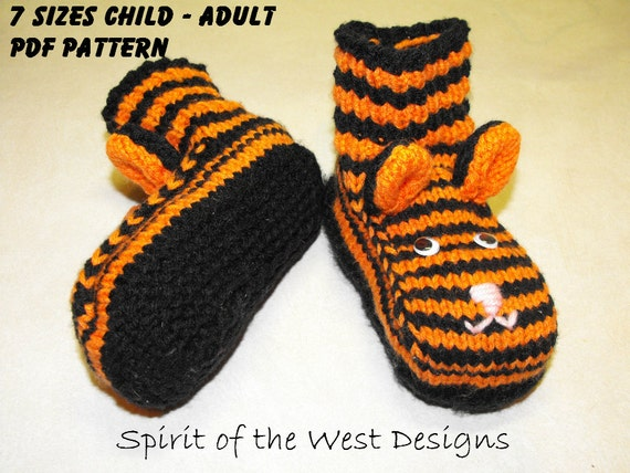 Tiger Slippers Knitting Pattern 7 Sizes Toddler Child Teen Etsy