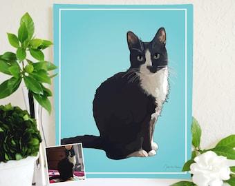 Custom Cat Portrait, Custom Pet Portrait, Custom Cat Art, Cat Memorial, Pet Memorial, Original Cat Art, Custom Cat Print, Cat Decor, Cat Art