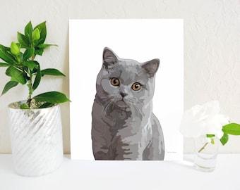 Exotic Shorthair Cat Shorthair Portrait Shorthair art Proud Shorthair,ExoticCat Print Shorthair Print Exotic wall art Pet Cat Portrait