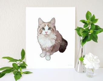 Ragdoll Cat Art Print, Ragdoll Cat Painting, Cat Gift, Ragdoll Cat Lover Gift, Cat Print, Cat Portrait, Cat Memorial, Cat Decor, Cat Gifts