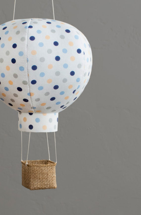 Newborn Gift Baby Shower Decor Travel Nursery Mobile Hot Air Balloon Decoration in Navy Multi Dot
