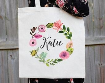 Bridesmaid Tote Bag, Floral Canvas Tote Bag, Maid of Honor Tote Bag, Bridal Party Tote Bag, Custom Wedding Bag, Personalized Wedding