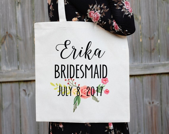 Bridesmaid Tote Bag, Floral Canvas Tote Babe, Maid of Honor Tote Bag, Bridal Party Tote Bag, Custom Wedding Bag, Personalized Wedding, South