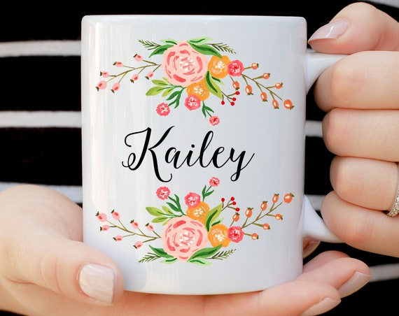 Personalized Name Coffee Mug With Flowers