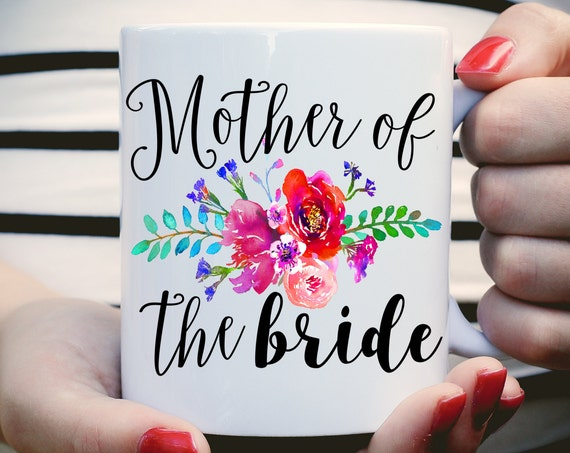 Mother of the Bride Mug with Water Color Flowers