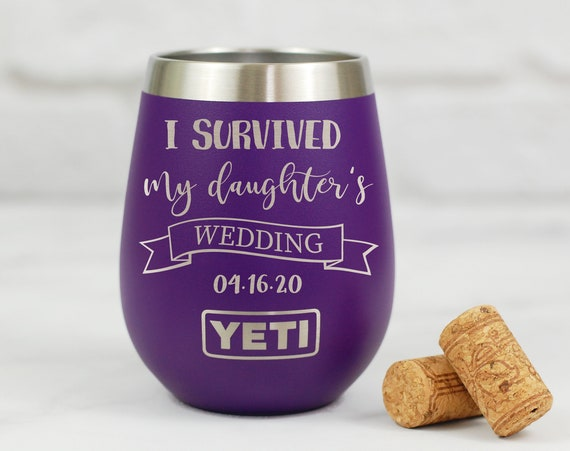 I Survived My Daughters Wedding Wine Tumbler, Mother of the Bride Stemless Wine Tumbler, Engraved Mother of The Bride Gift, Personalized Cup
