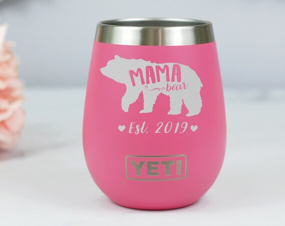 Mama Bear Yeti Wine Tumbler, Engraved Wine Tumbler For Mom, Stemless Wine Tumbler, New Mom Gift, Mother's Day Gift Idea, Baby Shower Gift