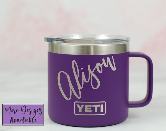 Engraved Camping Style Insulated Mug With Your Choice Of Design, Color and Brand! Yeti and Polar Camel Available.