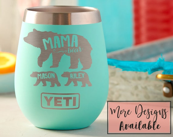 Mama Bear Engraved Stemless Wine Tumbler