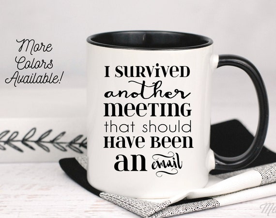 I Survived Another Meeting That Should Have Been An Email Mug, Office Humor Mug, Gift For Co-Worker, Gift For Boss, Office Coffee Mug