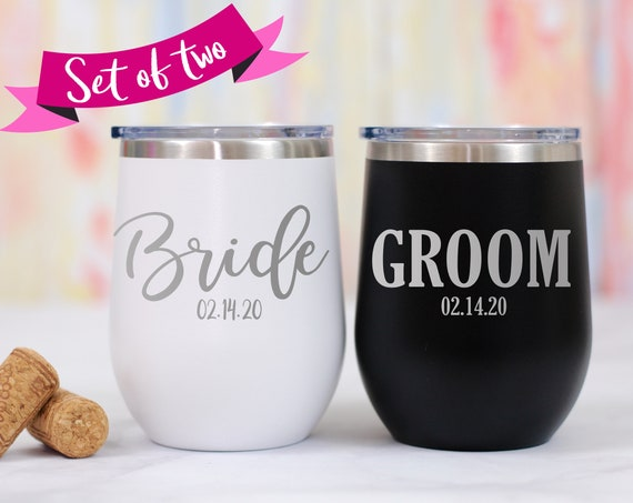 Bride and Groom Stemless Wine Tumblers